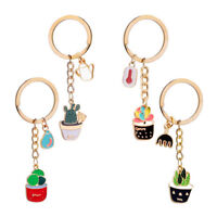 Enamel Potted Plant Cactus Pattern Key Ring Purse Key chain Pendant Accessory QA