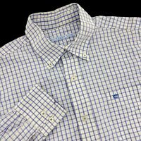 Mens Large Southern Tide Blue White Check Long Sleeve Button Dress Shirt L
