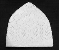 Quality White Prayer Hat -100% Cotton (Kufi Hat -Hats-Namaz Topi- Muslim cap