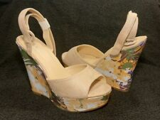 CUCU nude faux suede peep toe sandals floral platform wedge heel UK 6 BNIB