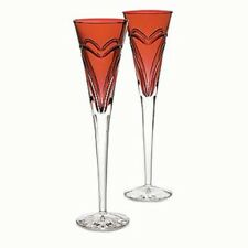 Waterford Crystal Love & Romance Ruby Red Champagne Flute Toasting Glasses (NEW)