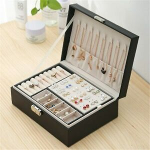 Leather Jewelry Box Travel Jewelry Organizer Necklace Earring Ring Storage Box