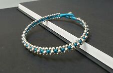 Wax Cord Blue Silver Anklet