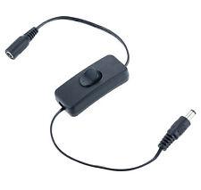Negro en Línea 12V DC Interruptor de encendido/apagado con conectores 2.1mm para Tiras de led