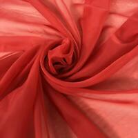 "BRIGHT RED SOFT FOLD PLAIN VOILE NET DRAPE 60""WIDE £2.75 SOLD BY THE METRE"