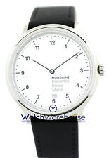 Mondaine MH1.R2210.LB Helvetica #1 Regular WHT Dial Men Leather Watch New in Box