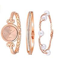 Reloj de pulsera para mujer ronda brazalete en tono Rosa Dorado y Pulsera Set 590
