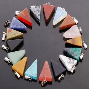 Fashion charms natural stone mixed triangle stone pendants 25pcs/lot Wholesale