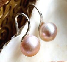 Handarbeit Ohrhänger Ohrringe Silber Perle 7 mm Aprikot Modern Elegant Schlicht