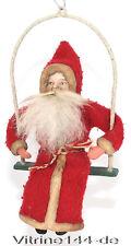 alter Christbaumschmuck WEIHNACHTSMANN Santa Claus Nikolaus auf Schaukel um 1930