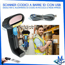 BARCODE SCANNER CON CAVO USB 1,5 MT PISTOLA MAGAZZINO CODICE A BARRE EAN 1D MSG