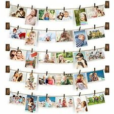 - Collage Picture Frames Hanging Photo Display Rustic Wood With 30 Clips Wall