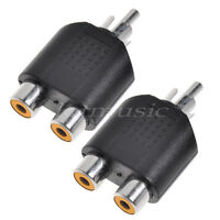 2 * Male RCA Plug to Dual RCA Female Y Splitter Audio Splitter Adapter Connector
