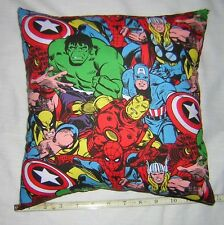 New  Marvel Comics Super Heroes Cotton Fabric Pillow    Handmade in the U.S.A.