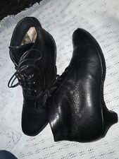 THINK Damen Schuhe Schnürer  Stiefel Leder schwarz  Gr. 37 UK 4 Top