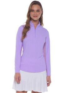 IBKUL Mini Check 1/4 Zip Mock Neck Top Long Sleeve Shirt S M Lavender/White