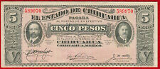1914 MEXICAN STATE OF CHIHUAHUA 5 Pesos Note S532c Crisp UNC