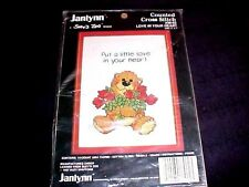 SUZY'S ZOO LOVE IN YOUR HEART counted cross stitch kit Teddy Bear 1987 w/Frame