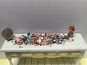 XMAS In JULY! Vintage Artisan Christmas Candy & Cookies Dollhouse Miniature 1:12