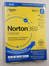 NORTON 360 DELUXE 3 Devices 25GB PC Cloud Storage NEW SEALED BOX Ships 3 Day !!!