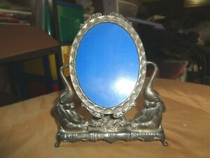VINTAGE METAL ELEPHANTS MIRROR PICTURE & FRAME