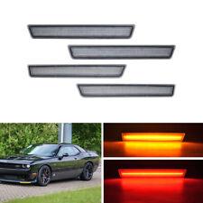 4x F&R Led Side Marker Lights For Dodge Challenger 2015-2019 Amber Red Indicator