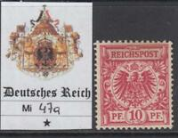 GERMANY - 1889 - Mi 47a cv 400$ MH*  SUPER centered