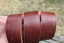 WIDE EMBOSSED TOOLED LEATHER WESTERN BELT SIZE 32