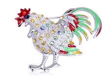 Silver Tone Multicolored Rhinestones Colorful Chicken Rooster Hen Brooch Pin