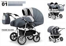 Zwillingswagen Lux Duo Geschwister 3in1- Set Wanne Buggy Babyschale Zubehör