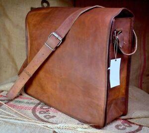 Men's Genuine Vintage School Satchel Messenger Military Shoulder Leather Bags