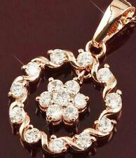 FREE POST = STUNNING NEW 9K ROSE GOLD FILLED CZ PENDANT WITH HEART CHAIN