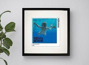 NIRVANA - NEVERMIND   PRINT BOX FRAMED ART 3 Sizes Black or White