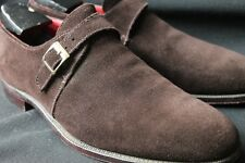 SOLO MONK Thin Red Line x Alfred Sargent Chocolate Brown Plain Toe Single Strap