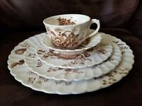 Royal Staffordshire, /Transfer ware, China/, CLARICE CLIFF, /5 piece/BROWN/BEIGE