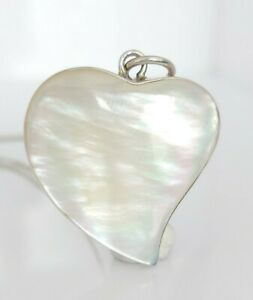 """Beautiful Large Sterling Silver & Mother Of Pearl Heart Pendant Necklace 16.5"""""""