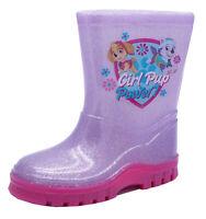 GIRLS KIDS PINK GLITTER PAW PATROL WELLIES RAIN SPLASH WELLINGTON BOOTS UK 4-10