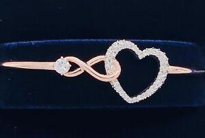 New SWAROVSKI Rose Gold Sparkle Crystals Infinity Heart Bangle Bracelet 5518869