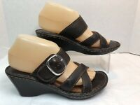 Born Womens Wedge Sandals Size 8 M Brown Leather Strappy w/ Buckle Open Toe #B