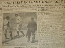 May 14, 1926 'New York American' Newspaper Page-Babe Ruth Hits 2 Home Runs