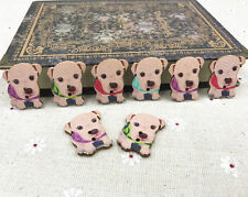 Dog Animal Buttons Wooden Sewing Decoration Scrapbooking Mix-color 28mm 50pcs
