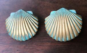 Vintage Shell Earrings Brass Metal With Hand Painted Patina Marked Pat. 5048311