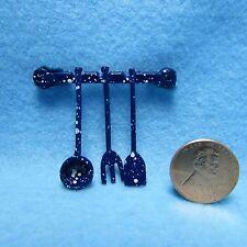 Dollhouse Miniature Hanging Utensils in Blue Splatter ~ K4172