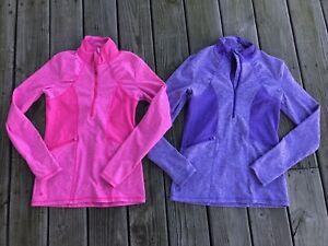 EUC Athleta Lot of 2 Womans 1/2 Zip Pullover Jacket  XS Bright Pink Purple