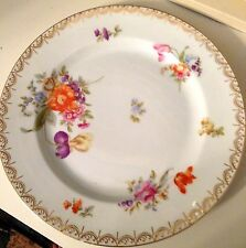 Antique Rosenthal Selb Bavaria plate  Dresden flowers 1930 Gold accent 10 inch
