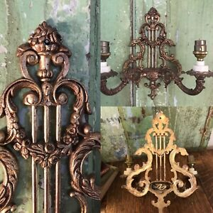 Genuine Vintage Brass 2 Sconce FRENCH ROCOCO Style Old Candle Wall Lights