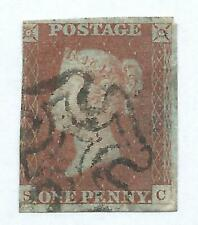 Queen Victoria Stamp 1841 Penny Red Imperforate MX Cancel r6264