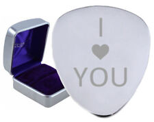 I Love You Heart Steel Guitar Plectrum Pick Engraved - Optional Text On Box