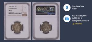 1958 Peru 20 Centavos rare Cupro Nickel FINEST KNOWN