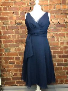 WTOO Navy Blue Chiffon Calf Length Evening Party Dress Size 12 Occasion Wedding
